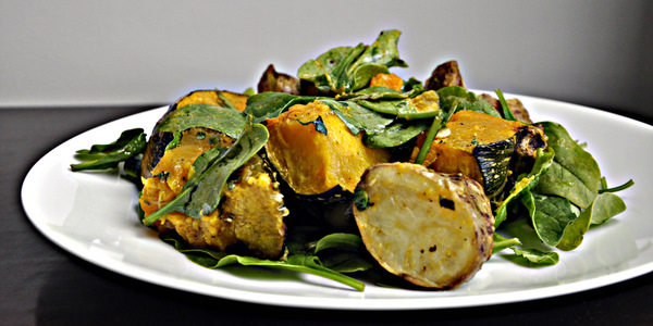New Potato Pumpkin and Baby Spinach Salad with Lemon and Herb Dressing ...